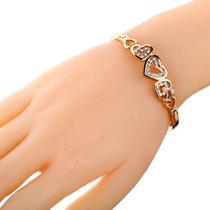 Pulseira Bracelete Feminino Coração Banhado Ouro Rose 18k