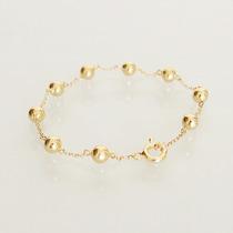 Pulseira De Ouro 18k 750 De Bolinha 19cm Cartier Feminina