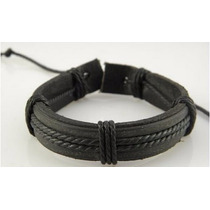 Pulseira Couro Masculina Surf Swag Hiphop Armani Hollister