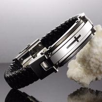 Pulseira Masculina De Couro, Bracelete Aço Inox E Titânio