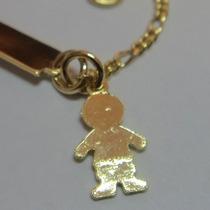 Pulseira De Criança P/menino Chapeado 3x1 Banhado A Ouro 18