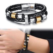 Pulseira Masculina Bracelete Couro Legítimo Prata E Dourado