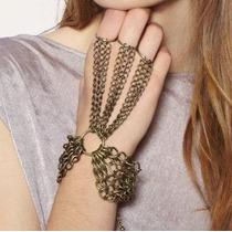 Pulseira Anel Hand Chain Indiana Boho Hippie Chic Ouro Velho
