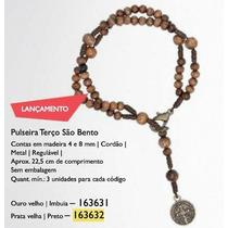 Pulseira Terço Madeira C/ Medalha São Bento