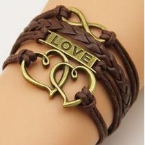 Pulseira Feminina, Bracelete De Couro Love Coração Ou Ancora