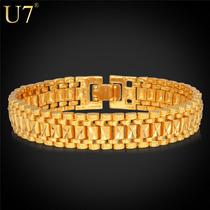 Pulseira Banhada A Ouro 18 K, Dourada, Platinadas 19 Cm 12