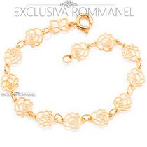 Rommanel Pulseira Infantil Rosas Folheado Ouro 18k 551138