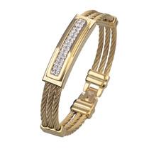 Pulseira Masculina Bracelete Aço Inox + Ouro Amarelo 18k