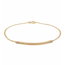 Pulseira Piastrine C/ Chapinha Em Ouro Amarelo 18k Diamantes