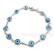 Pulseira Folheado Prata 925 C/ Olho Grego Azul Claro Turco