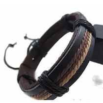 Pulseira Masculina Tribal Couro Legítimo Bracelete