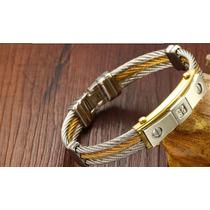 Pulseira Bracelete Masculino Aço Inox B.ouro18k + Zirconias
