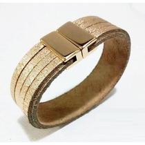 Pulseira Bracelete Feminina Dourada Couro Fecho Magnetico