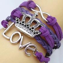 Pulseira Feminina Bracelete, Coroa, Love, Coração