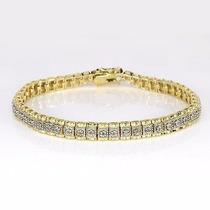 Jóia Pulseira Com Diamantes Prata Ouro 14k 92.5ct