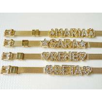 Pulseiras Aço Inox Dourada Letras Em Strass