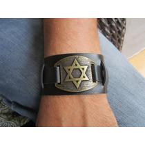 Pulseira Bracelete Estrela De David Em Couro Sintético