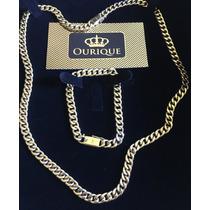 Conjunto De Corrente E Pulseira Em Ouro 18k 750 Grumet 1x1