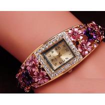 Pulseira Bracelete Relógio Com Detalhes De Flores E Strass
