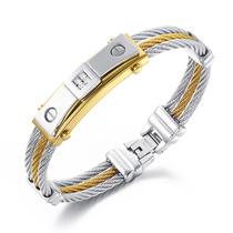 Pulseira Masculina Bracelete Aço 316l + Ouro 18k + Zircônias