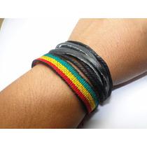 2pulseira, Tornozeleira Reggae Da Amizade Jamaica E De Couro