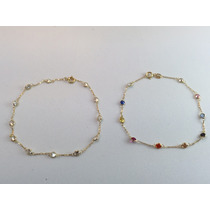 Swjoias Pulseira Pedras Coloridas Zirconia Ouro 18k 750