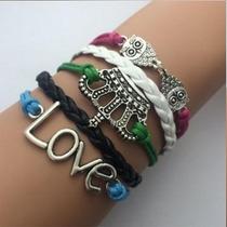 Pulseira Feminina Bracelete Coroa, Love, Corujas
