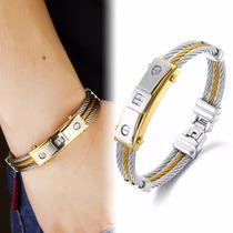 Pulseira Masculina Bracelete Aço Inox + Ouro 18k + Zircônias