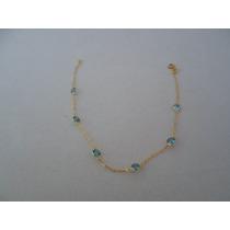 Pulseira Feminina Com Pedras Zirconia Ouro 18k 750
