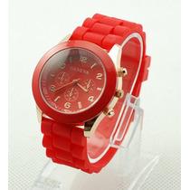 Relógio Masculino Geneva De Pulso Pulseira De Silicone