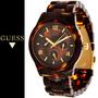 Relógio Feminino Guess Original Tartaruga Marrom Dourado
