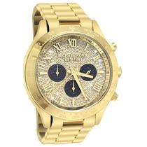 Relógio Luxo Michael Kors Mk5830 Orig Chron Anal Gold Swarv