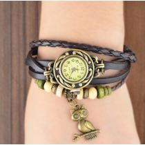 Relógio Feminino Bracelete Com Pingente De Coruja
