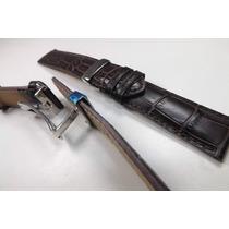 Pulseira Couro Croco Marrom Pinhão 22mm Fecho Deployant [f1]