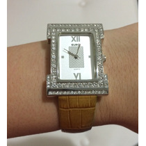Relógio Euro Feminino Com Pulseira De Croco Caramelo Lindo