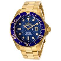 Relógio Invicta 14357 Diver Azul Texturiazado Plaque Ouro