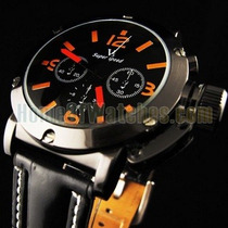 Relógio Militar Black Grande V6 Laranja Preto Pulseira Couro