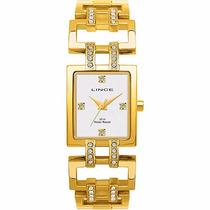 Relógio Lince Orient Dourado Feminino Quadrado Lqg4090l