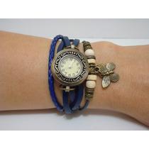 Relógio De Couro Feminino Bracelete Com Pingente Borboleta