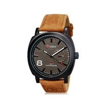 Relógio Masculino Curren Preto E Marrom Grande Couro Luxo