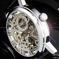 Relógio Automático Mecânico Prata Winner Pulseira Couro Luxo