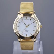 Relógio Quartz Feminino Aço Cromado Na Cor Dourado E Strass
