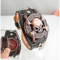 Relógio Piratas Do Caribe Bronze Pulseira Preta,lindão.