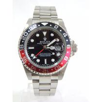 Relógio Gmt Master Il Prata Maquina Japonesa Red/ Black 12x