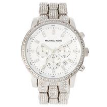 Relógio Luxo Michael Kors Mk5545 Orig Chron Anal Prata!!!