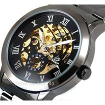 Relógio Skeleton Mecânico Automático Aço Inox Preto Shenhua