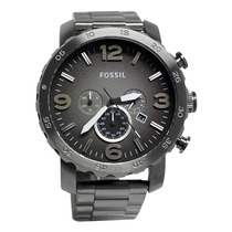 Relógio Fossil Jr1437 Smoke Grey Dial Nate Stainless Steel
