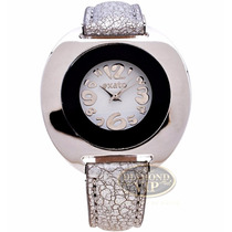 Relógio Feminino Exato Prata Branco Couro Novo Original