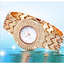Relógio Feminino Luxo- Dourado Com Strass- Belíssimo!