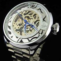 Relógio Esqueleto Masculino Automático Aço Inox Vencedor